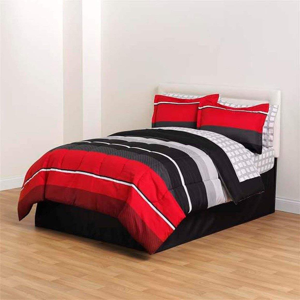 Amazon com 8 piece red black comforter sheet pillow soft full size bedding woven bed set home kitchen