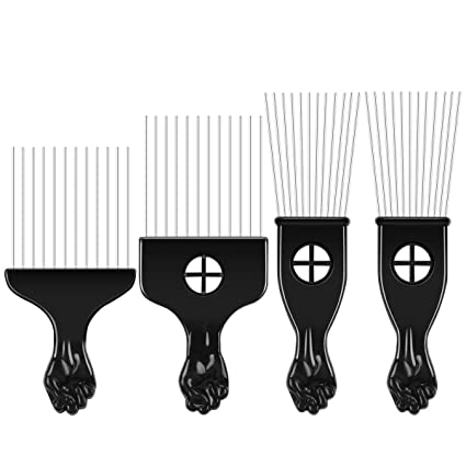 4 peines Afro Pick Pick Pick Peine afroamericano cepillo de pelo metal peines de colorear peluquería