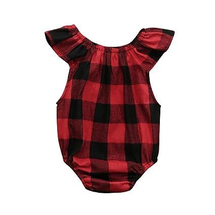 Mameluco Bebé, Amlaiworld Recién nacidos niños niñas bebés ropa sin mangas mameluco a cuadros Pijama
