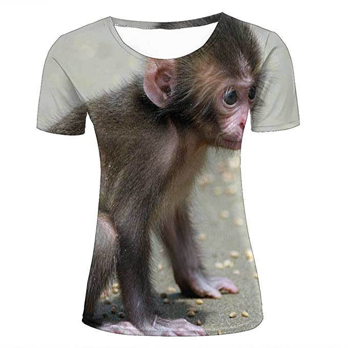 af35ef2d896 Womens 3D Creative Printed Animal Baby Monkey Design Crewneck Short Sleeve T -Shirt Top For