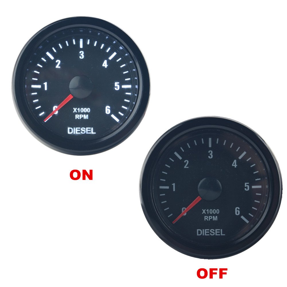 Dewhel Universal 52MM 2' Vision Black Diesel 6K Speed RPM 6000 Electrical Tachometer tachos Rev Counter Gauge Whiter LED JDM Sport Meter Kit Car interior Accessories For Diesel Engine