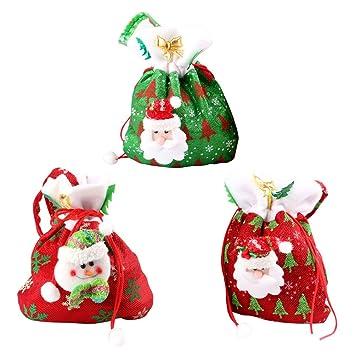 35e1e0b84 Toyvian 3 Piezas Navidad Cordón Bolsa De Regalo Regalo Saco con Papá Noel  Muñeco de Nieve patrón Dulces Bolso para niños niña Party Favors Supplies  ...