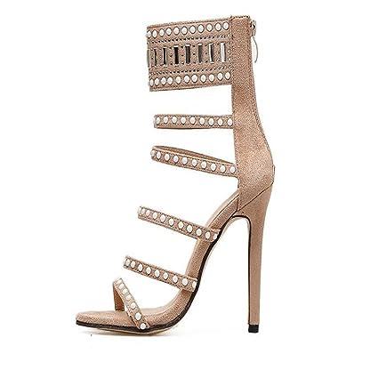 784df4c823f5 JUNBOSI Women s High Heels Hot Diamond High Heel Sandals Beaded Hollow Sexy  Suede Shoes Daily Outdoor