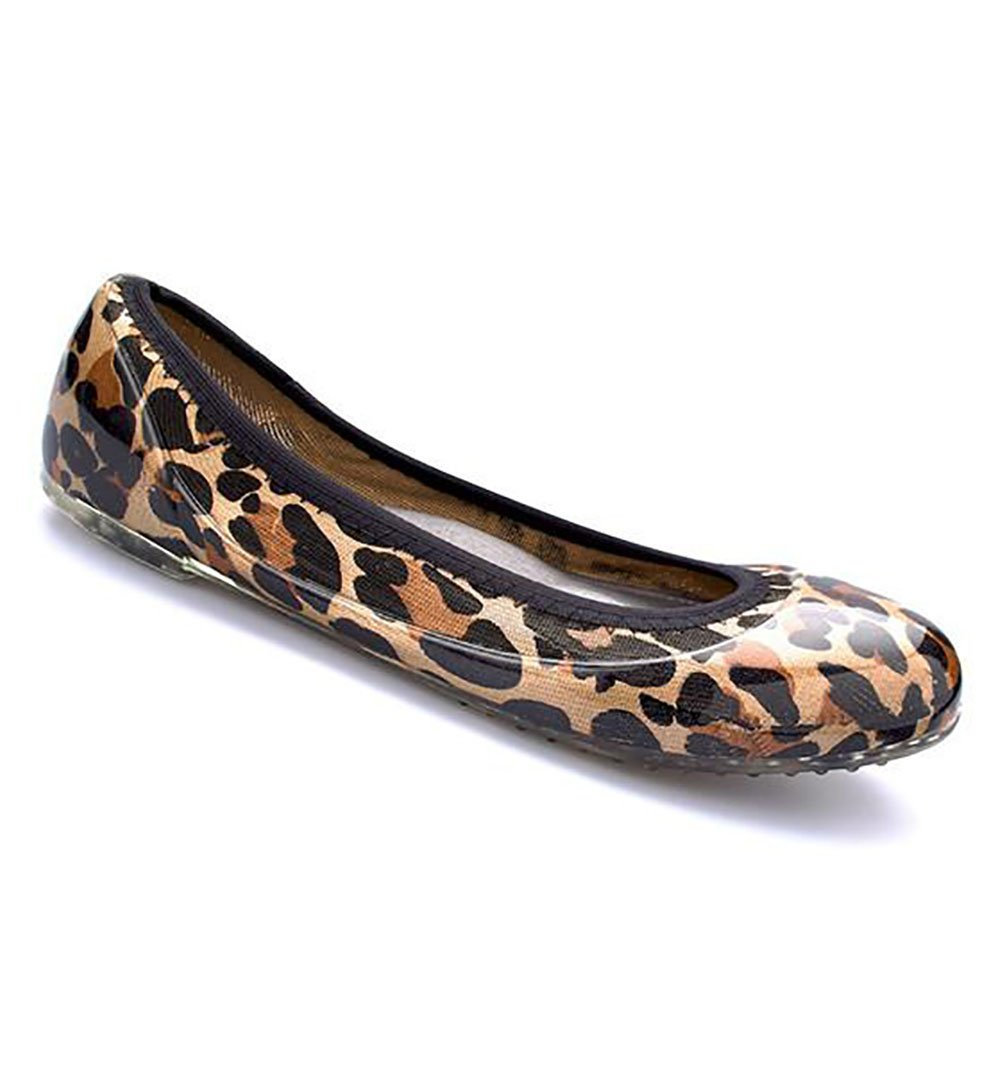 JA VIE Foldable Comfortable Shoes for Women Cute Flats for Every Day Wear Driving Walking, Camel Leopard SZ 39