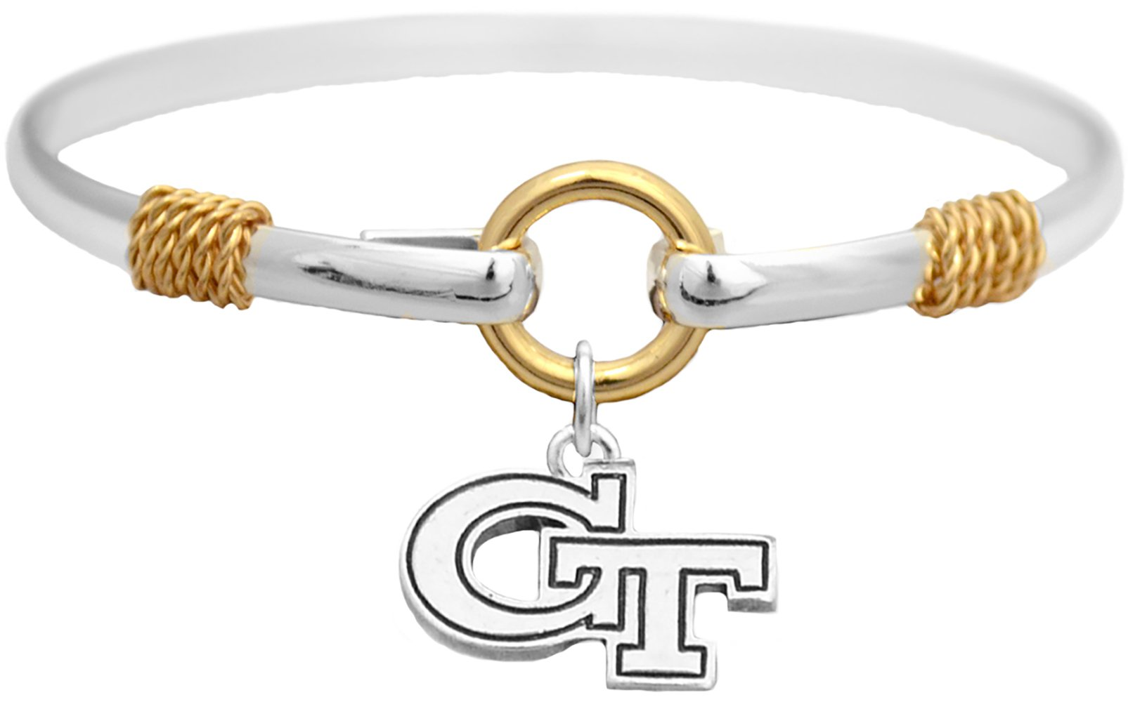 Sports Accessory Store Georgia Tech Yellow Jackets Two Tone Silver Gold Cuff Bracelet Charm Jewelry GT by Sports Accessory Store