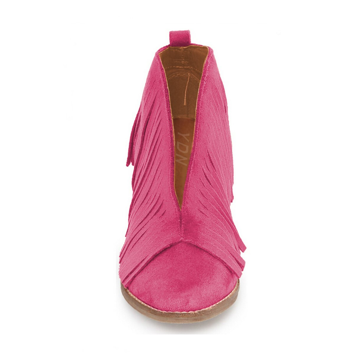 YDN Western Ankle High Boots with Tassels Round Toe Block Heel Suede Retro Booties B01KC29ZX8 13 B(M) US|Fuchsia