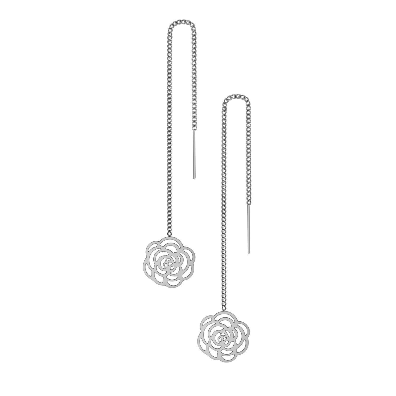 555Jewelry Womens Long Dangle Drop Dainty Flower Threader String Earrings