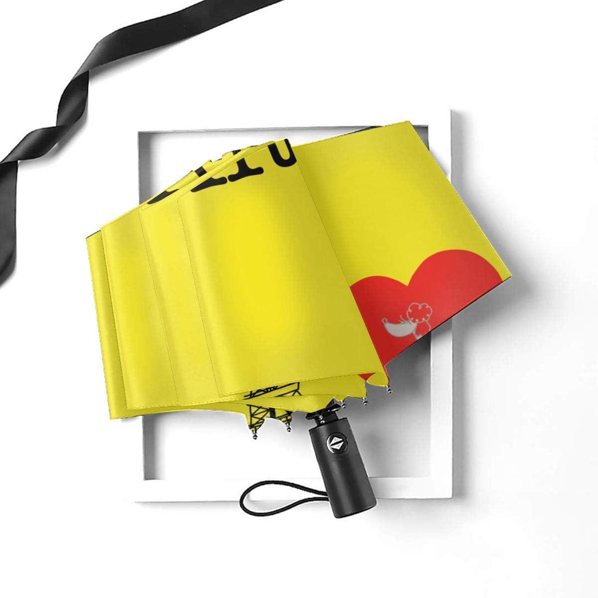 I Love Paris Automatic Tri-Fold Umbrella Parasol Sun Umbrella Sunshade