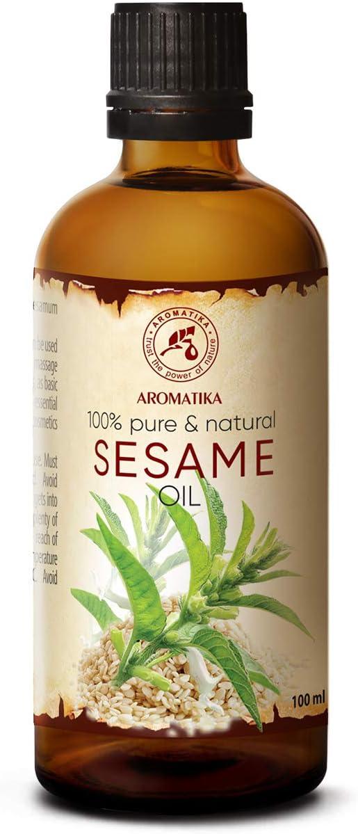 Aceite de Sésamo 100ml - Sesamum Indicum - México - 100% Puro y Natural - Cuidado Intensivo para el Rostro - Cuerpo - Cabello - Piel - para Masaje - Cuidado Corporal - Sésamo - Ajonjolí Aceite