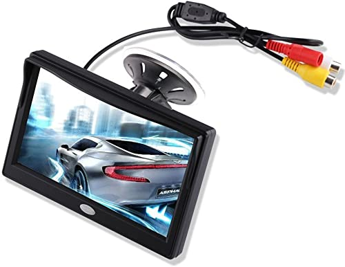 5 Inch TFT LCD Car Color Rear View Monitor Screen for Parking Rear View Backup Camera with 2 Optional Bracket Suckers Mount and Normal Adhesive Stand