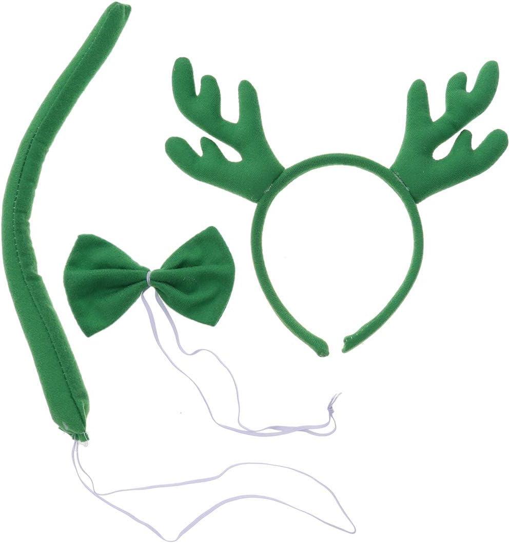 Bestoyard 3pcs Christmas Cosplay Set Reindeer Antler Headband Bow Tie Tail Kids Christmas Dressing Up Green Amazon Co Uk Kitchen Home