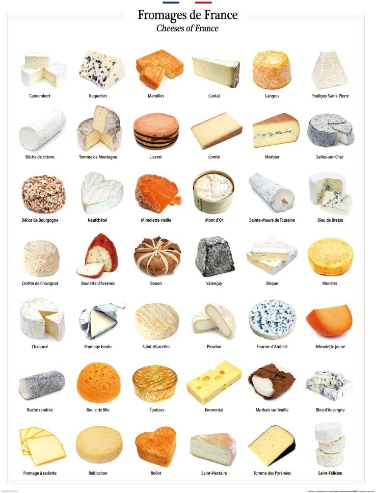 1art1 Cheese Poster Art Print - Cheeses of France (32 x 24 inches)
