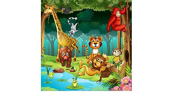 OFILA Cartoon Animals Backdrop 16x8ft Kids Safari Theme Party Decoration Children Birthday Photos Playroom Decor Preschool Events Photography Background Baby Shower Photos Video Studio Props