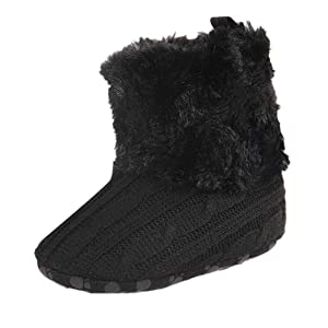 Alonea Baby Soft Sole Snow Boots Soft Crib Shoes Toddler Boots (11, Black)