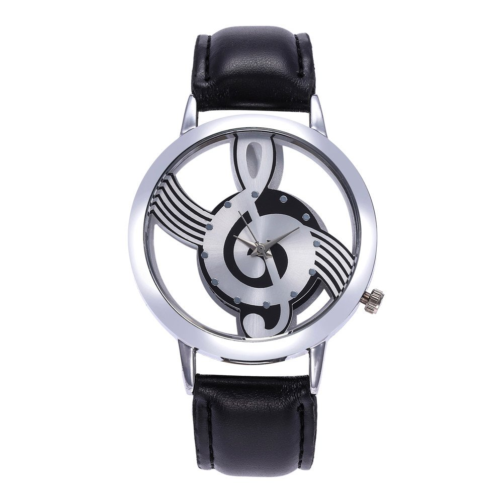 Women Quartz Watches VANSOON Teen Girls Dress Watches Musical Note Painting Leather Bracelet Lady Digital Wrist Watch Classic Watches Pocket Watches Clearance (Z-Black)