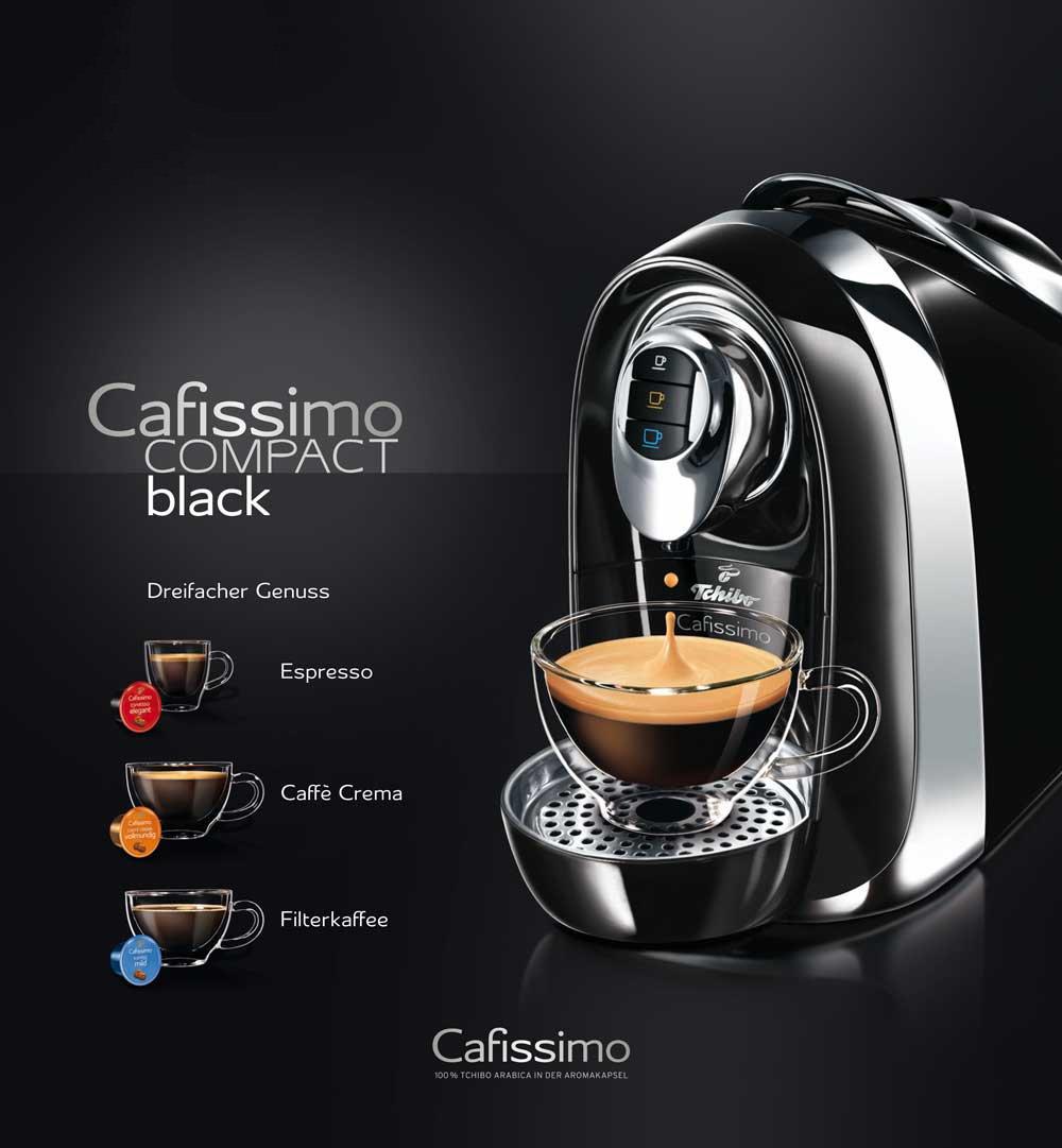 Tchibo Cafissimo Compact Capsule Machine 590 Watt 12 Litre Water Tank For Coffee Espresso And Caffè Crema Deep Black