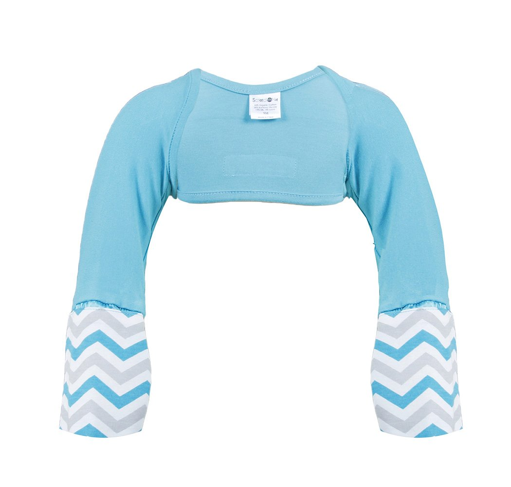 Scratch Me Not Flip Mitten Sleeves - Baby Boys' Girls' Stay On Scratch Mitts, Teal Chevron, 6T