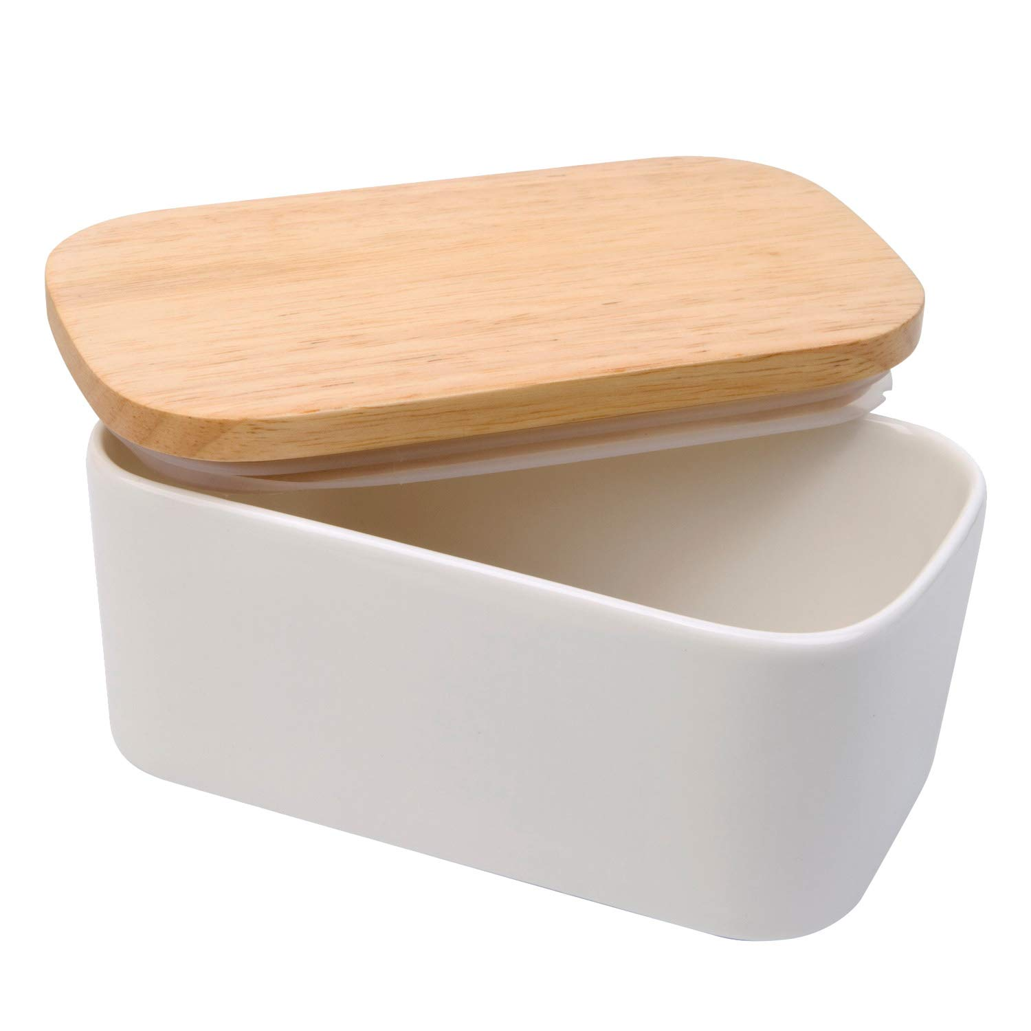Arswin Butter Dish with Lid, LARGE 650ml Porcelain Keeper with Wood Lid Cover for 2 Sticks of Butter, Microwave Safe Easy Clean Butter Storage Container for Countertop and Refrigerator (White)