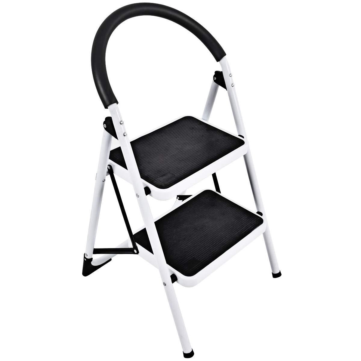 Goplus Step Ladder, Heavy Duty Folding 2 Step Ladder Step Stool with Handgrip and Wide Anti-Slip Platform Sturdy HD Construction, 330lbs Capacity
