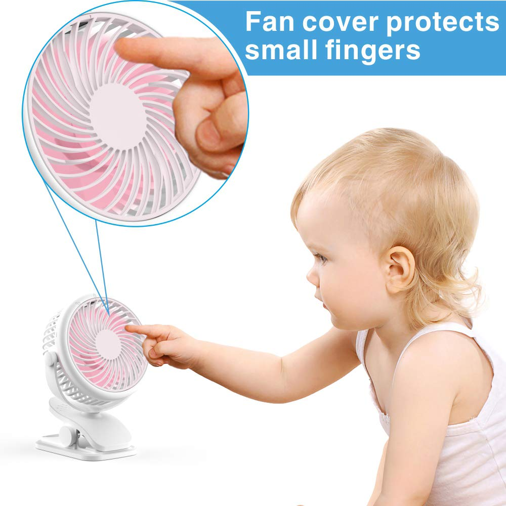 Stroller Fan, Cambond Clip On Fan Battery Operated Fan Rechargeable 2200mAh Battery, USB Cable, 3 Adjustable Speed, Desk Table Portable USB Small Fan for Travel Camping Fishing Boating, Pink by Cambond (Image #6)