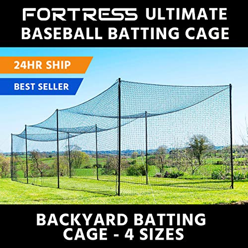 Baseball Batting Cage Net - Ultimate Baseball Batting Cage [Net & Poles Package] - #42 Heavy Duty Net with Steel Uprights [Net World] 24hr Ship - (20', 35', 55', 70') (20' Batting Cage Package)