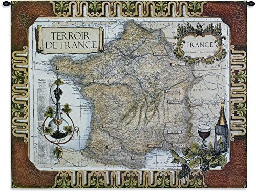 (French Wine Country | Woven Tapestry Wall Art Hanging | French Wine Country Vineyard Location of Vintage Map | 100% Cotton USA 42X53)