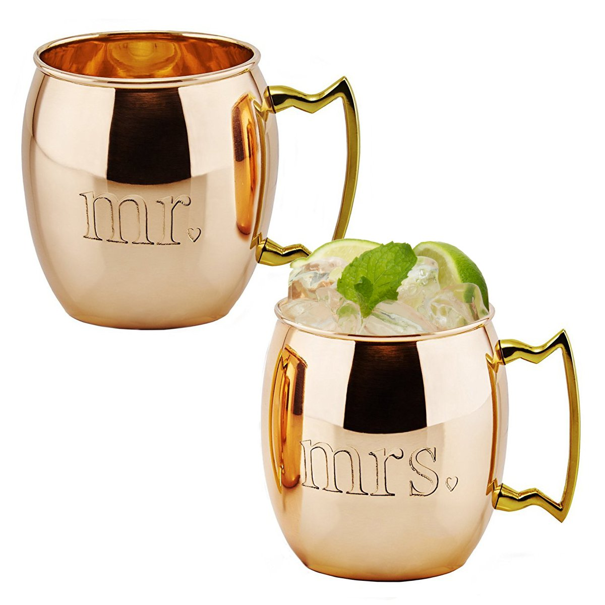 Old Dutch '' MR and MRS'' Solid Moscow Mule Mugs (Set of 2), Copper