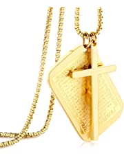 M MOOHAM Cross Necklace for Men, Stainless Steel Dog Tags Bible Verse Prayer Cross Pendant Necklace Military Box Chain 22 Inch