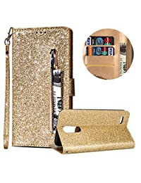 Luxury Glitter Bling Zipper Wallet Phone Case for LG K8 2018, MOIKY Bookstyle PU Leather Flip Folio Magnetic Purse Pockets Credit Card Holder Wrist Strap Case Cover for LG K8 2018 - Gold