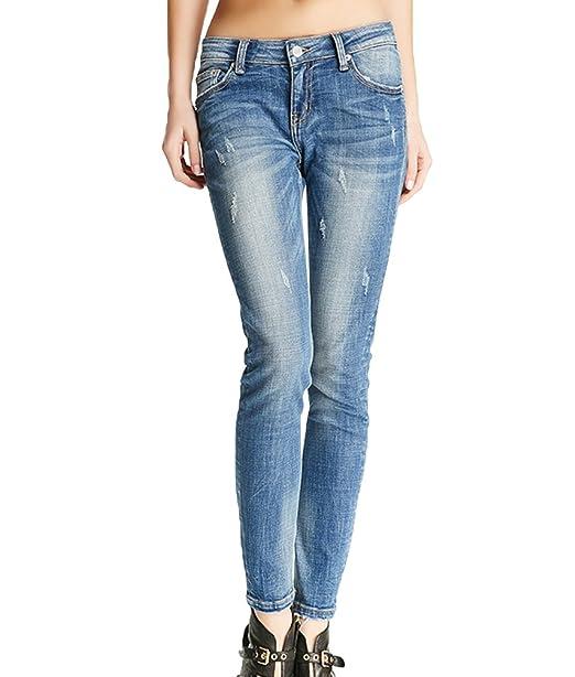 ZhiYuanAN Mujer Skinny Jeans Moda Tiro Bajo Desgastados ...