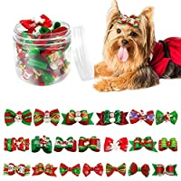 Didog Christmas Pet Cat Dog Hair Bows,Bowties Collar--Grooming Accessories for Yorkie,Poodle,Cocker spaniel,Pomeranian