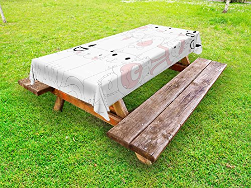 Lunarable Kitten Outdoor Tablecloth, Many Faced Bunch of Happy Sad Sleepy Sassy Cat Caricature Kids Nursery Theme, Decorative Washable Picnic Table Cloth, 58 X 84 Inches, White Pale Pink