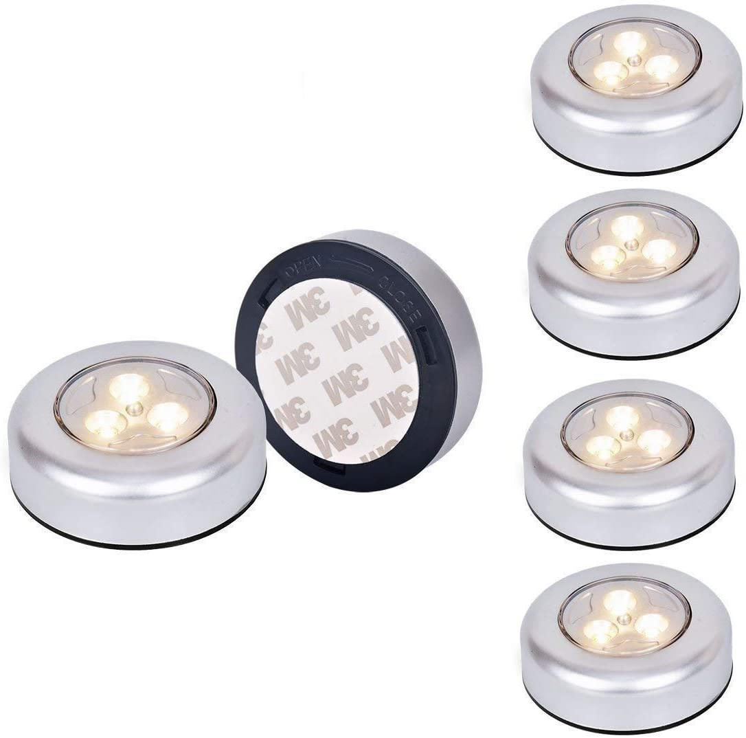 6 pcs ] Tougo 3-ledes Bright LED Luz de noche alimentada por baterías,con Pulsador, Sin cable,para Closets, Armarios, Guardarropa, Armario, Pasillo, Dormitorio, Baño - luz amarillo: Amazon.es: Iluminación