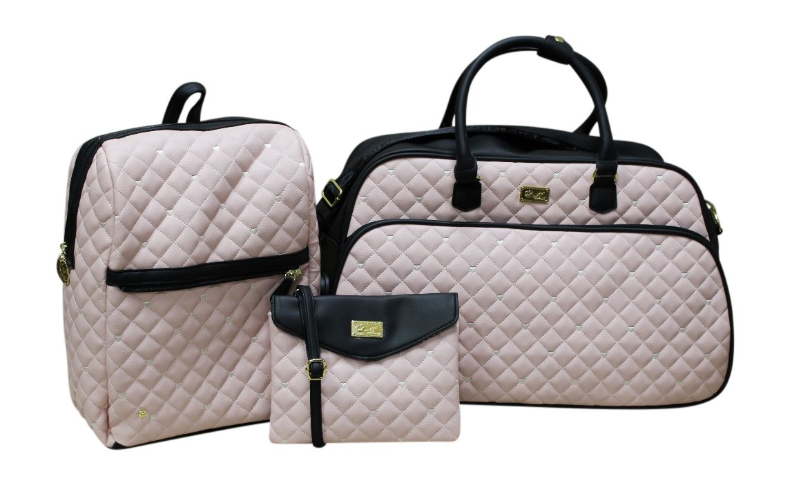 Betsey Johnson 'LUV Betsey' Quilted 3-in-1 Weekender - Blush