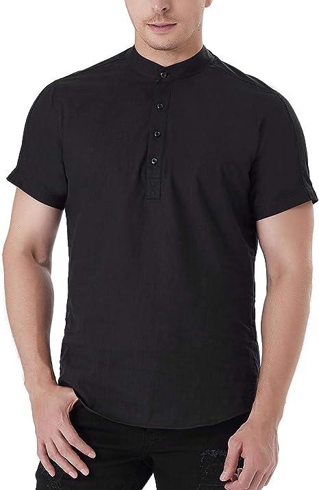 iClosam Camiseta para Hombre de Manga Corta Lisa con Botones de Color sólido Camisa Henley Informal Top con Cuello en v Top Ajustado: Amazon.es: Ropa y accesorios