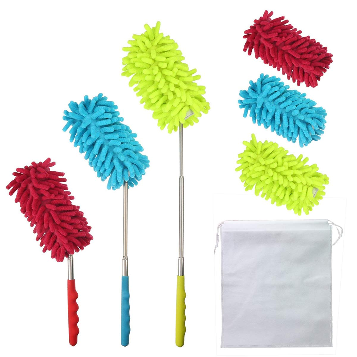 BRT Bendable Extendable Microfiber telescopic Duster Dusting Brush Set with Free 3 Chenille Duster Heads, Washable Noodle Duster Head for Home, Office, Car