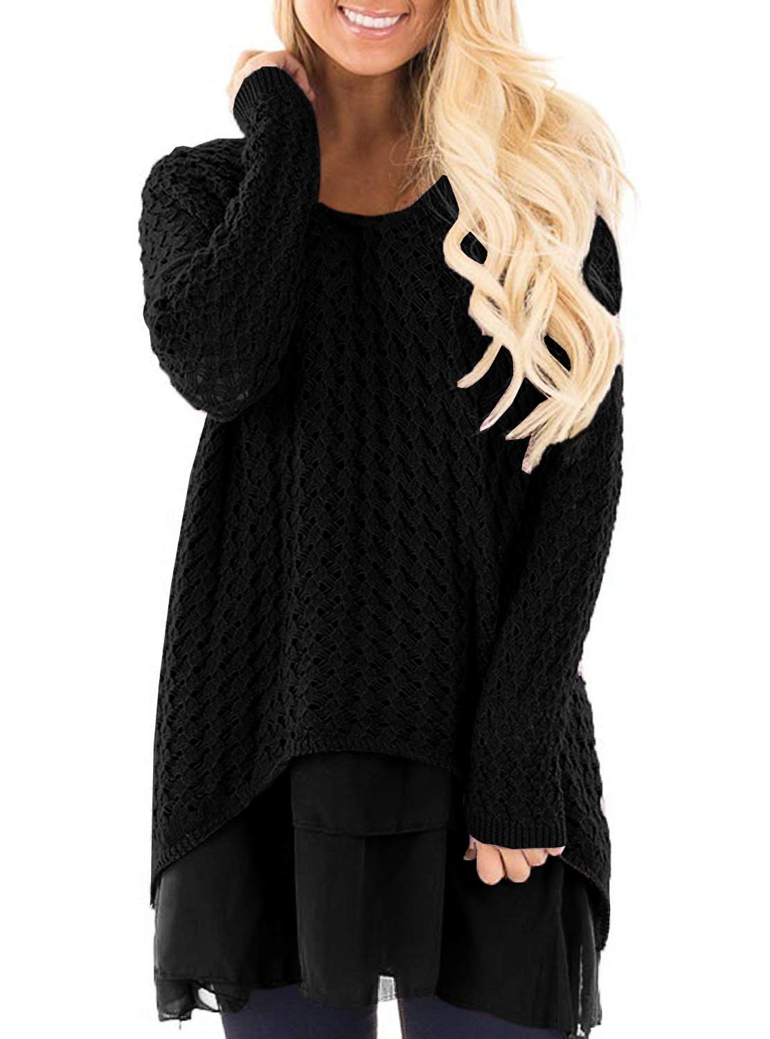 Haloumoning Womens Sweaters Fall Loose Round Neck Double Layer Cable Knit Pullover Dress