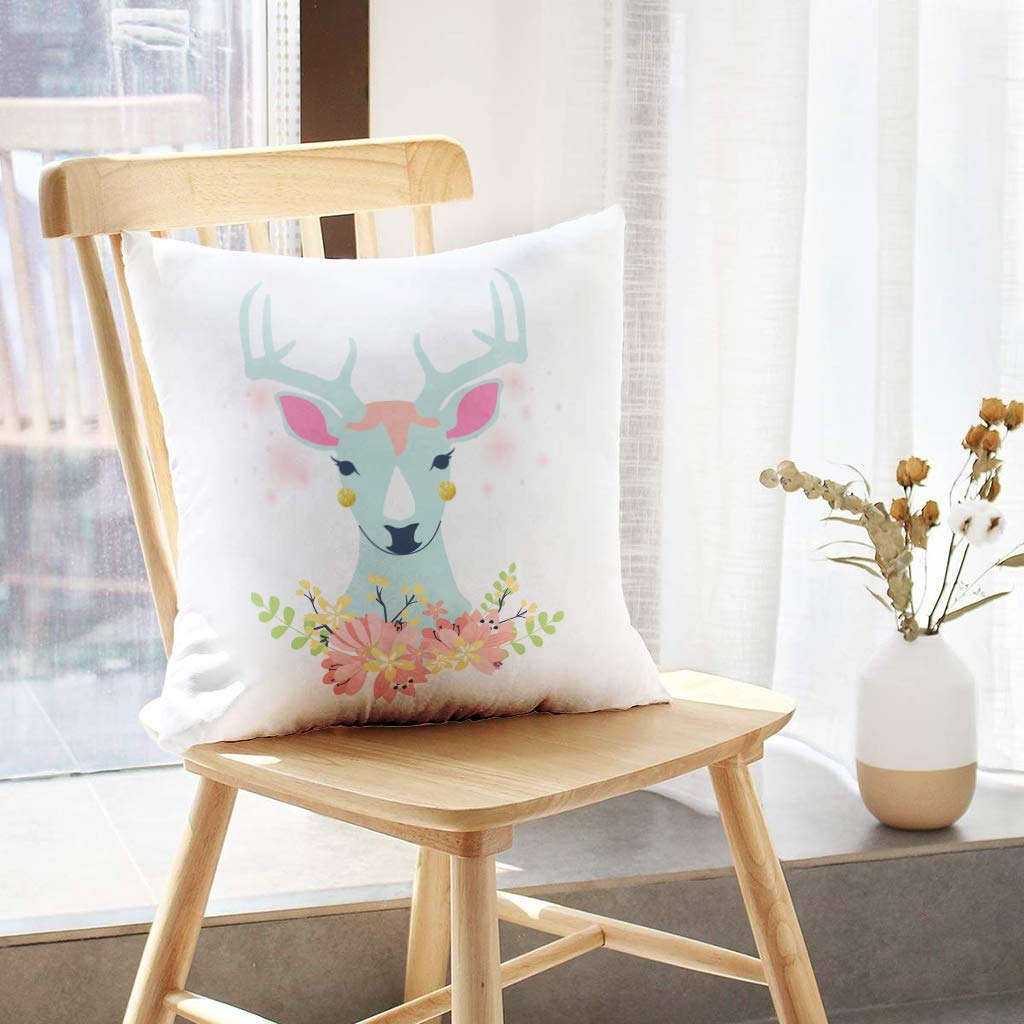 Watercolor Deer Head with Flowers and Feathers White Boho Skull Bohemian for Sofa Cushion CoverShort Plush Design Decoration Home Bed Pillowcase 18x18 inch Lshtar Throw Pillow Covers