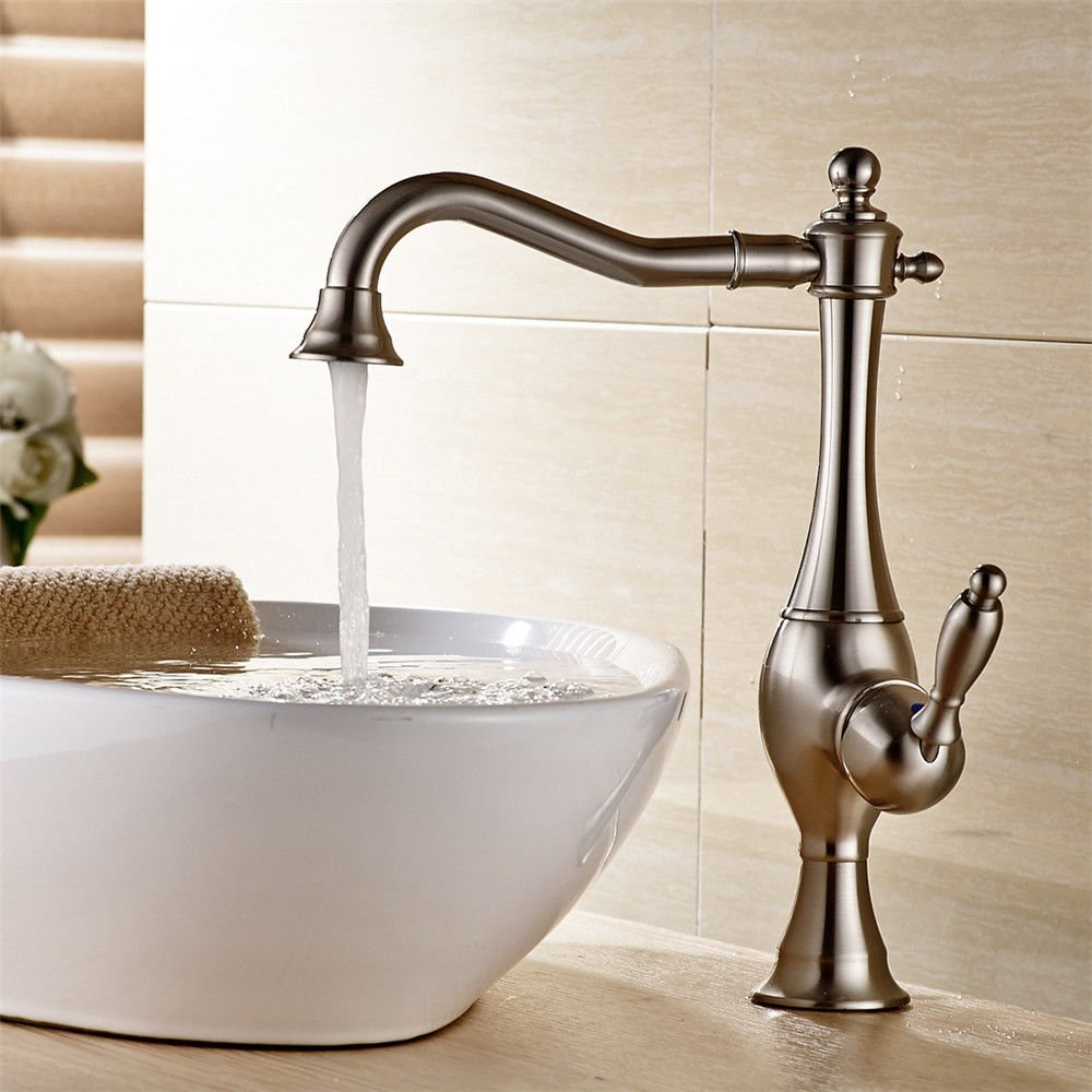 AQMMi Bathroom Sink Mixer Tap Brass Nickel Brushed 360°redatable Hot and Cold Water Taps for Bathroom Sink