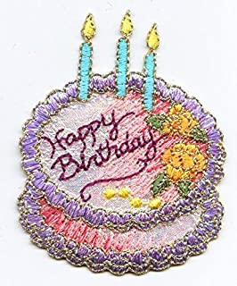 Birthday Cake with Candle /'Have a Nice Day/' Iron on Applique Patch