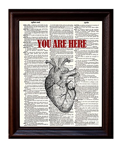 Art Human Heart (Anatomical Human Heart Love - You Are Here in My Heart - Printed on Upcycled Vintage Dictionary Paper - 8