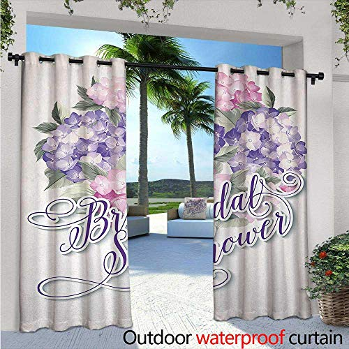 Bridal Shower Exterior/Outside Curtains W72 x L96 Shabby Chic Hydrangeas Romantic Bride Flowers Image Art Print for Patio Light Block Heat Out Water Proof Drape Purple and Light ()