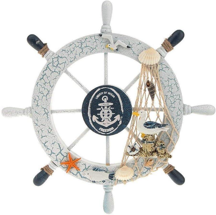 FRECI Nautical Bathroom Accessories Wooden Beach Boat Ship Steering Wheel Bedroom Wall Decor, B