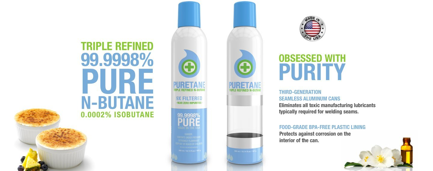 Puretane N-Butane Food-grade Triple Refined 9X Filtered Butane Gas - 12 Cans - Display Case *HAZMAT SHIPPING INCLUDED*