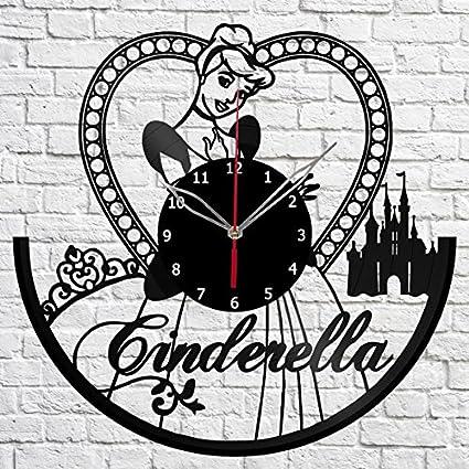 Cenicienta - Reloj de pared con película de dibujos animados y vinilos 9b6e9c5a6e83