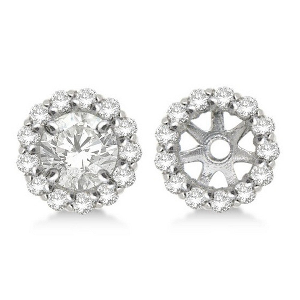Round Diamond Earring Jackets for your 5mm Diamond Studs 14K White Gold Diamond Jackets 0.50ct