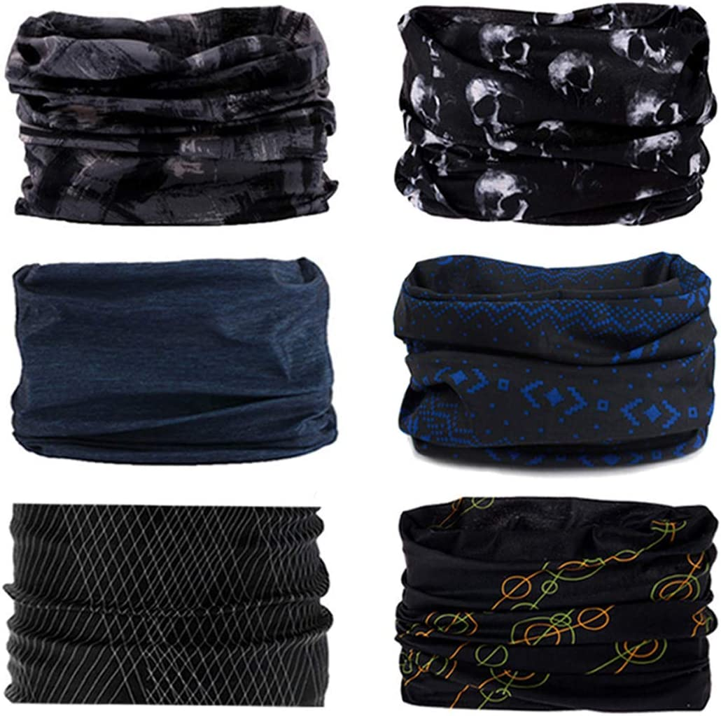 Multifunctional Headwear Fashion Bandana 6Pcs Outdoors Headwear Headband Scarf Bandana Stretchy Headwrap Balaclava for Yoga Running Hiking Cycling