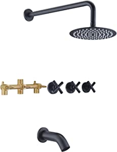 3 Handle Tub Shower Faucet,Matte Black Bathtub Faucet Set with Waterfall Tub Spout,Tub and Shower Trim Kit with Valve,SUMERAIN