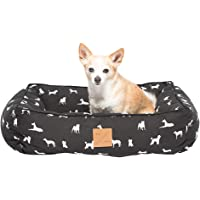 MOG & BONE Bolster Dog Bed Black Designer Dog Print Small