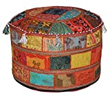 Indian Living Room Pouf, Foot Stool, Round Ottoman Cover Pouf,Traditional Handmade Decorative Patchwork Ottoman Cover,Indian Home Decor Cotton Cushion Ottoman Cover 22x15''inches